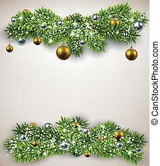 abeto, lío, navidad, frame.