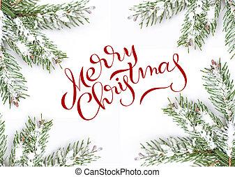abeto, lettering, ramos, fundo, texto, quadro, isolado, verde, feliz, natal., branca, caligrafia