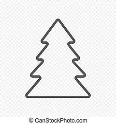 abeto, luz, árvore, isolado, vetorial, fundo, transparente