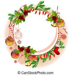 abeto, marco, pelotas, ramas, navidad