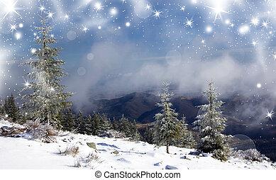 abeto, natal, fundo, árvores, nevado