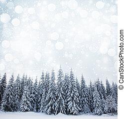 abeto, natal, fundo, nevado