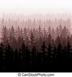 abeto, natureza, árvores, floresta pinho, fundo, paisagem