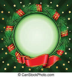 abeto, navidad, círculo, marco, branc