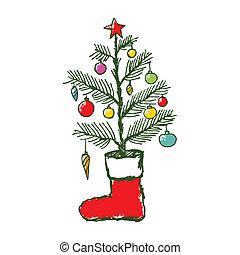abeto, navidad, calcetín, árbol, mano, dibujado, navidad