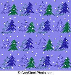 abeto, padrão, neve, árvores, seamless, natal