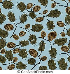 abeto, padrão, ramo, cone