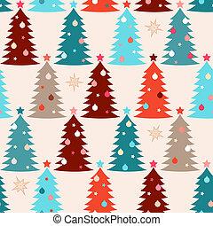 abeto, padrão, seamless, árvores