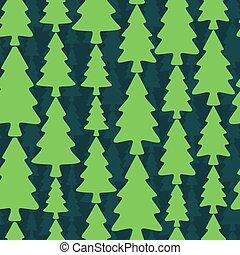 abeto, padrão, seamless, árvores, experiência escura