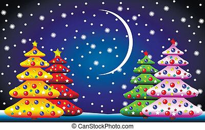 abeto, paisagem, árvores inverno, natal