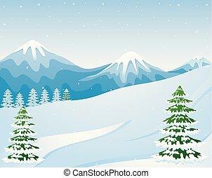 abeto, paisagem montanha, árvores inverno