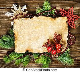 abeto, papel, árvore, decorações natal