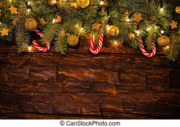 abeto, ramos, madeira, decoração natal, pranchas
