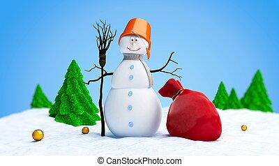 abeto, saco, bonecos neve, vermelho, árvore