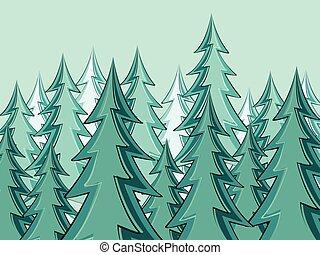 abeto, siluetas, bosque, árboles