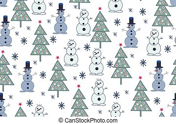 abeto, snowflakes., padrão, árvores, seamless, mão, experiência., bonecos neve, desenhado, natal