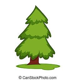 abeto, terra, pedaço, árvore, ilustração, vetorial, grama alta