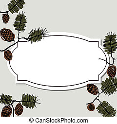 abeto, texto, quadro, ramo, cone