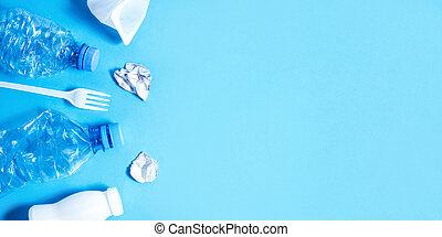 abfall, plastik, blauer hintergrund