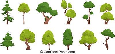 abfallend, vektor, baum, eiche, einfache , kiefer bäume, weihnachten, karikatur, zapfentragend, freigestellt, plants., satz, wohnung, wald, baum., flora