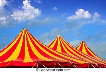 abgestreift, zirkus, gelber , muster, orange, rotes , zelt