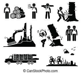 abholzung, cliparts, holzfällen