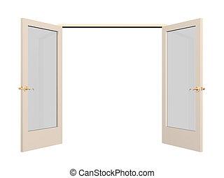 abierto, 3d, puerta, con, vidrio, hojassueltas