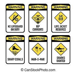 abierto, agua, advertencias, conjunto, ii