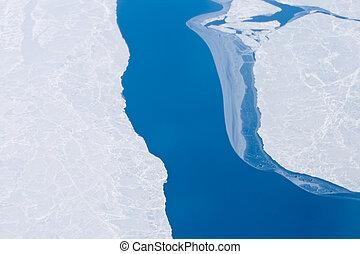 abierto, agua, océano ártico, hielo, cerca, polo norte,...