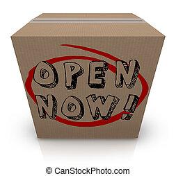 abierto, ahora, caja de cartón, urgencia, inmediato, acción, requerido