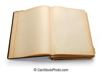 abierto, antiguo, libro