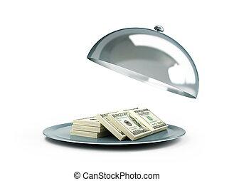 abierto, bandeja, dólar