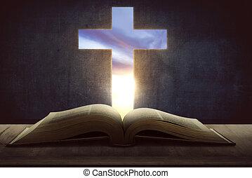 abierto, biblia santa, con, de madera, cruz, en el medio