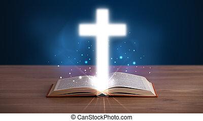 abierto, biblia santa, con, encendido, cruz, en el medio