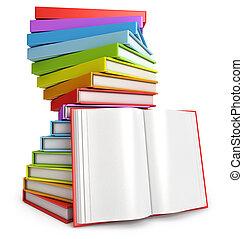 abierto, books., pila de libro