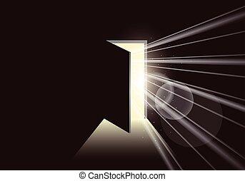 abierto, brillante, puerta, luz