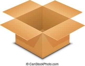 abierto, caja de cartón, blanco