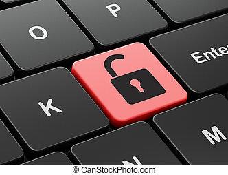 abierto, candado, computadora, plano de fondo, teclado, seguridad, concept: