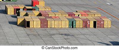 abierto, carga, contenedores