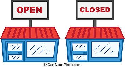 abierto, cerró signo, tienda
