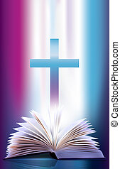 abierto, chasquear, biblia, y, cruz
