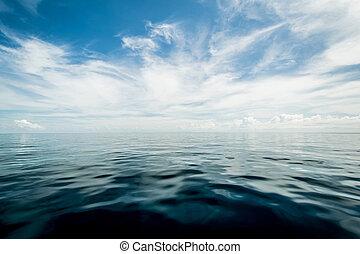 abierto, cielo, nublado, Océano