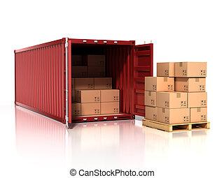 abierto, contenedor, con, cajas de cartón