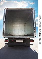 abierto, contenedor, de, camión