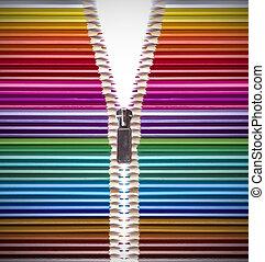 abierto, creatividad, con, lápices de color