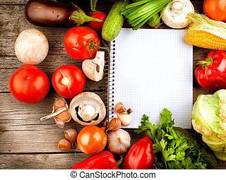 abierto, cuaderno, y, verduras frescas, fondo., dieta