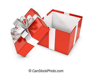 abierto de cuadro, rojo, regalo, 3d