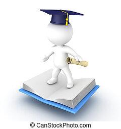 abierto, diploma, carácter, cima, vuelo, 3d, tapa graduación, libro