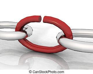 abierto, enlace, en, un, cadena