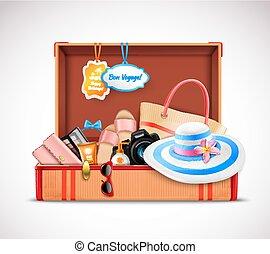 abierto, equipaje, maleta, realista, vacaciones, retro